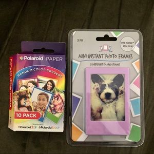 Photo frames and colored paper